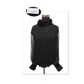 ジャンフランコフェレ(Gianfranco FERRE)のジャンフランコフェレ シルクシフォンのお袖×変形襟デザインニット(ニット/セーター)