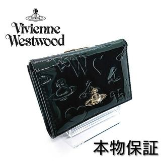 ヴィヴィアンウエストウッド(Vivienne Westwood)の【新品】ヴィヴィアンウエストウッド コンパクト財布 がま口 ブラック エナメル(財布)