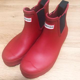 ハンター(HUNTER)のHUNTER レインブーツ CHELSEA 長靴 赤 美品(レインブーツ/長靴)