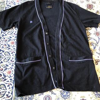 アールニューボールド(R.NEWBOLD)のR.NEWBOLD  半袖カーディガン 刺繍入り  ブラック(カーディガン)