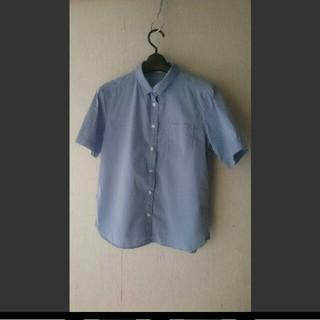 ジーユー(GU)のジーユー 半袖シャツ 綿 ブルー(シャツ/ブラウス(半袖/袖なし))