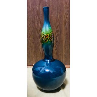 クタニセイヨウ(九谷青窯)の 九谷焼 青山 緑釉 花唐草文 花瓶 花器 瓢箪 ひさご (花瓶)