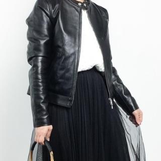 ノーカラー ライダースジャケット 黒