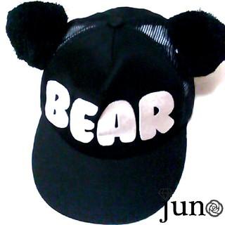 ワンスポ(one spo)のワンスポ くま耳 メッシュ キャップ 黒 シルバー BEAR ロゴ ベア クマ(キャップ)