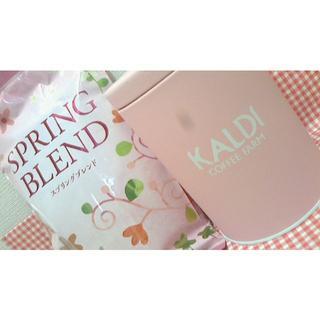 カルディ(KALDI)の春限定☆キャニスター缶(ピンク)、コーヒー200g「スプリングブレンド」(容器)