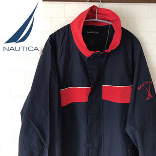 NAUTICA ノーティカ ナイロンジャケット スリーブロゴ バイカラー 90s