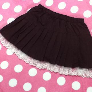 ワインレッドのプリーツスカート(ミニスカート)