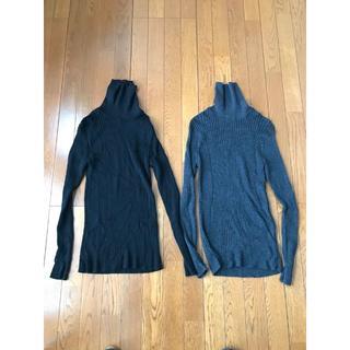 ムジルシリョウヒン(MUJI (無印良品))の無印良品 タートルネック 2着 Lサイズ  ブラックとグレー(ニット/セーター)