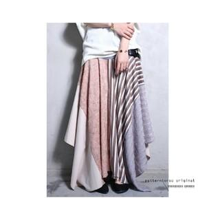 アンティカ(antiqua)のantiqua 完売品 ストライプ×花柄異素材切り替え変形スカート(ロングスカート)