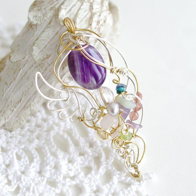 限定 アメジストの女神ワイヤーペンダント ハンドメイドのアクセサリー(ネックレス)の商品写真