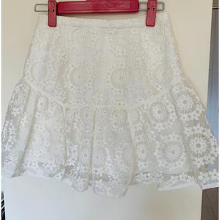 マーキュリーデュオ(MERCURYDUO)のマーキュリーデュオ MERCURY レース 白 スカート 春 刺繍 スナイデル(ミニスカート)