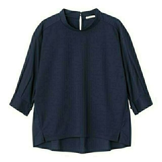 ジーユー(GU)の新品 未開封 XXL ネイビー 布帛コンビハイネックシャツ(7分袖) 匿名配送(シャツ/ブラウス(長袖/七分))