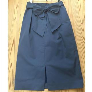 ソフィット(Soffitto)のSoffitto ソフィット リボン ベルト スカート 前スリット 手洗い可(ひざ丈スカート)