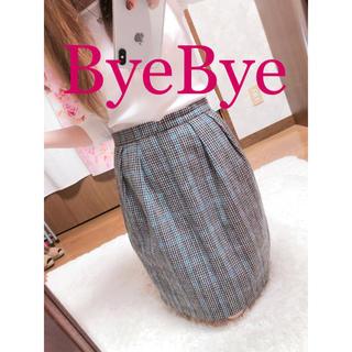 バイバイ(ByeBye)の370.ByeBye チェック柄 膝丈スカート 台形スカート ウール素材(ひざ丈スカート)