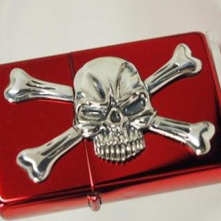 ジッポー(ZIPPO)のZippo Skull ドクロ ・メタル&クロスボーン スカル 銀赤 レッド(タバコグッズ)