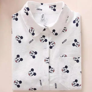 ディズニー(Disney)のミッキ–柄コットンシャツ(シャツ/ブラウス(長袖/七分))