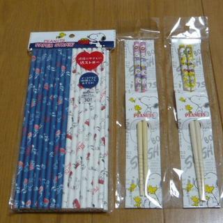 スヌーピー 紙ストロー1袋・お箸2膳(ピンク・イエロー)セット(カトラリー/箸)