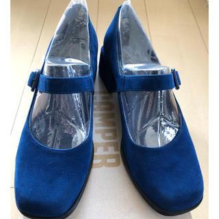 カンペール(CAMPER)のカンペールのストラップシューズ 青 スエード 37サイズ 美品(ハイヒール/パンプス)