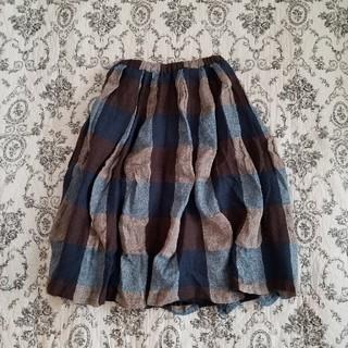 ツムグ(tumugu)の[tumugu:] ツムグ ウール リネン シワ加工 チェックスカート(ひざ丈スカート)