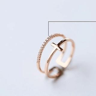 ☞金属アレ対応9号~20号♥ジルコニア※フリーサイズリング★指輪ピンクゴ-ルド (リング(指輪))