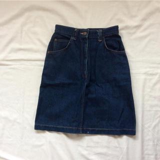 ロキエ(Lochie)のデニムスカート vintage 日本製 インディゴ(ひざ丈スカート)
