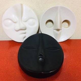 岡本太郎 太陽の顔 3個セット EXPO'70 当時物 大阪万博 信楽焼 (彫刻/オブジェ)