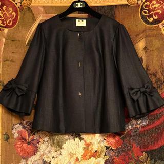 ローズティアラ(Rose Tiara)のRose Tiara    おリボン付きバルーン袖  濃紺色 春用ジャケット(ノーカラージャケット)