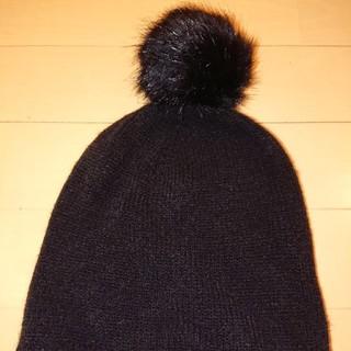 エイチアンドエム(H&M)のh&m ニット帽 ブラック ポンポン(ニット帽/ビーニー)