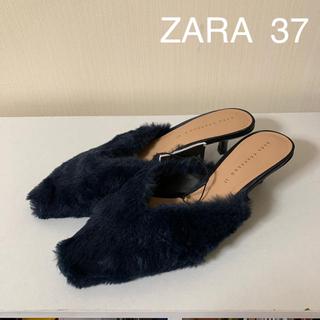 ザラ(ZARA)の新品タグ付 ZARA  ネイビー ファーミュール37(ミュール)