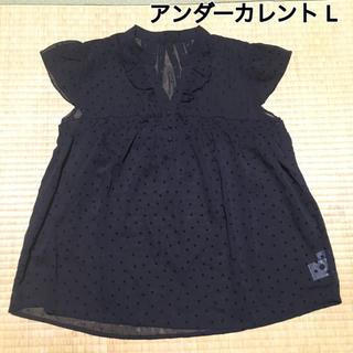 アンダーカレント(UNDERCURRENT)の黒ドットシャツ L(シャツ/ブラウス(半袖/袖なし))