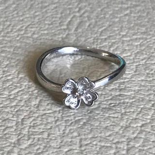 テイクアップ(TAKE-UP)のK18ホワイトゴールド ダイヤモンドリング 花 クローバー(リング(指輪))