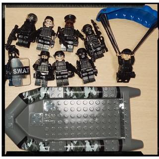 レゴ 互換品  軍隊 SWAT 特殊部隊  9体  ボート パラシュート(ミリタリー)