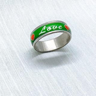 【新品未使用】ステンレスリング Love メッセージリング グリーン 18号(リング(指輪))