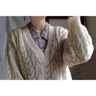 ロキエ(Lochie)の☆タイムセール☆アイボリー ホワイト ニット レース 編み セーター wool(その他)
