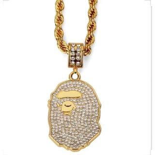 A BATHING APE - RHINESTONE APE HEAD NECKLACE GOLD ネックレス