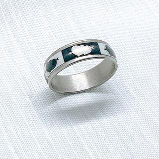 【新品】ステンレスリング モノクロハート 24号(リング(指輪))