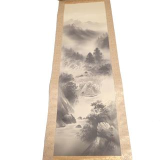 C542 珠石 水墨山水 水墨画 掛け軸 詳細不明(絵画/タペストリー)