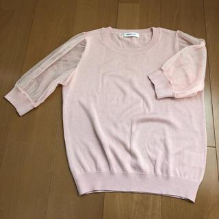 シマムラ(しまむら)のトップス 春ニット 肩レース ピンク M  (カットソー(半袖/袖なし))
