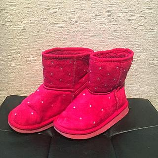 ジーユー(GU)のGU  ピンク  ラインストーン付き  ムートンブーツ  18㎝ 18.5㎝(ブーツ)
