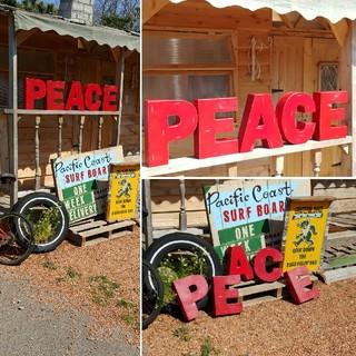 """アメリカン ヴィンテージStyle/ """"PEACE"""" FONT SING (ウェルカムボード)"""