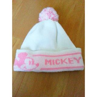ディズニー(Disney)のMICKEYニット帽(白×ピンク)(ニット帽/ビーニー)