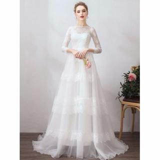 422f95239ddf1 ウエディングドレス シンプル スレンダー七分袖丈(ウェディングドレス)