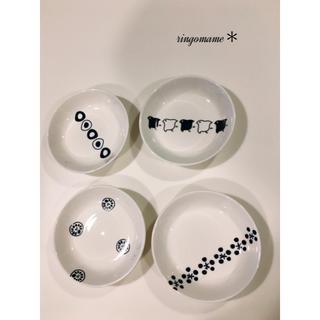 送料込♫和柄な豆皿4枚セット♫選べる♫ポーセラーツ♫モノトーン♫シンプル(食器)