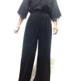 ロキエ(Lochie)の☆タイムセール☆美品 ラメ ワイド パンツ ブラック テロテロ素材 モード(その他)