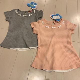 シマムラ(しまむら)の新品未使用 姉妹おそろい♡バックシフォントップス90.100(Tシャツ/カットソー)