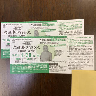 大日本プロレス★ペアチケット(格闘技/プロレス)