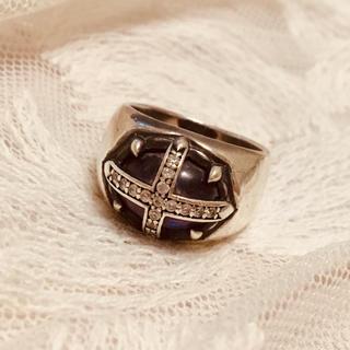 ジャスティンデイビス(Justin Davis)の希少 ジャスティンデイビス リング 十字架 シルバー ストーン(リング(指輪))