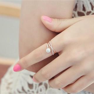 大人女子☆輝くXマークパールリング☆フリーサイズ シンプルリング 関節リング(リング(指輪))