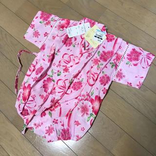 69d01b86f3424 ニシマツヤ(西松屋)の新品 70 花柄 ベビー甚平 浴衣(甚平 浴衣