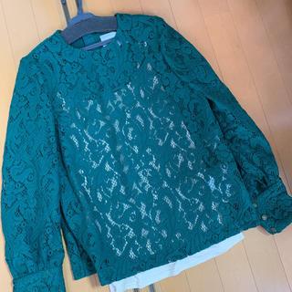 カオン(Kaon)の定価4.2万Kaonの深いグリーンが素敵なキャミインナー付き総レースブラウス(シャツ/ブラウス(長袖/七分))